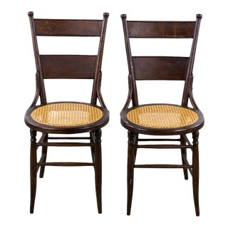 19th Century Victorian Round Caned Side Chairs - a Pair