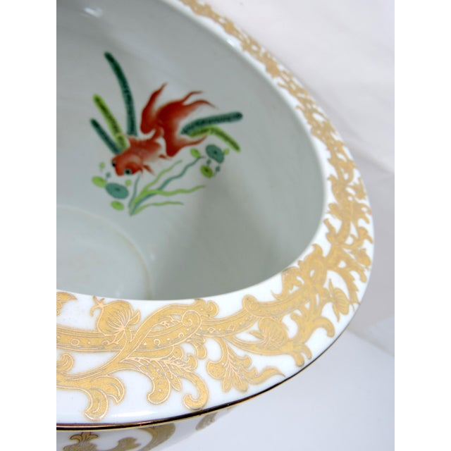 Metal Vintage Porcelain Oriental Hand Painted Gilt Goldfish Bowl - Planter For Sale - Image 7 of 10