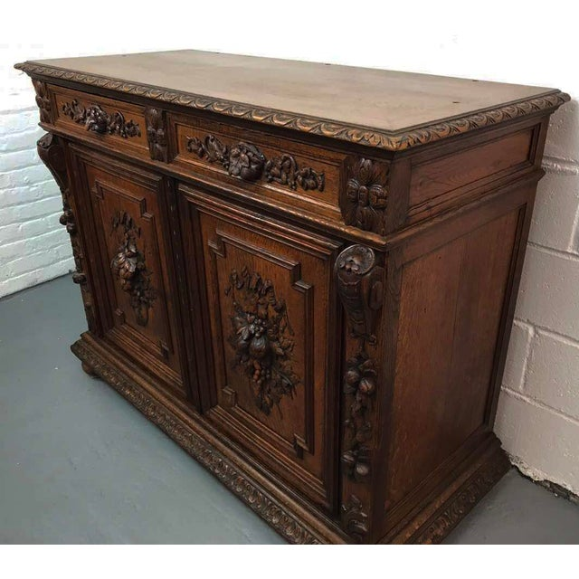 French French Antique Hand Carved Oak Sideboard For Sale - Image 3 of 10