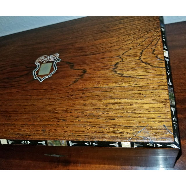 Early 19c Irish Mahogany Writing Slope With Armorial Crest For Sale - Image 10 of 13