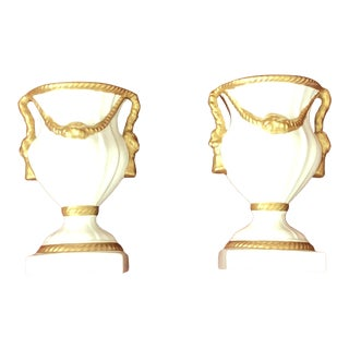 1980s Chelsea House Italian Porcelain Urns - a Pair For Sale