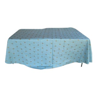 Teal & Gold Americana Luncheon Tablecloth For Sale