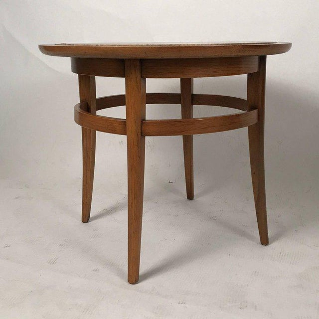 Contemporary Drexel Meridian Pecan and Italian Travertine Lamp or End Table For Sale - Image 3 of 6