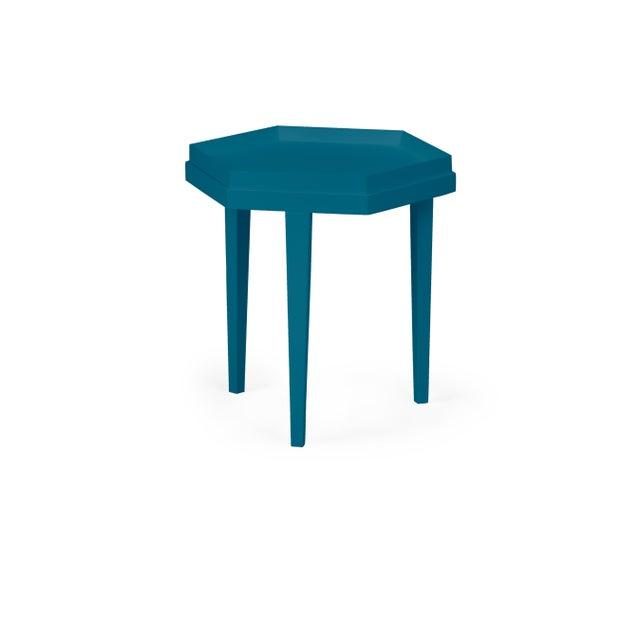 Transitional Ellis Table, Blue Danube For Sale - Image 3 of 3