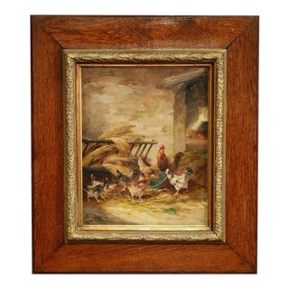 19th Century Framed Oil on Canvas Chicken Painting Signed E. Coppenolle For Sale