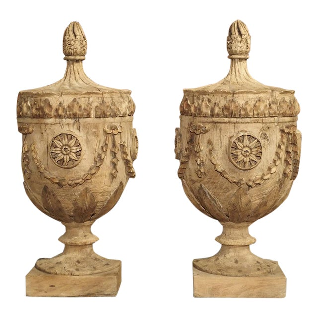 Pair of Neoclassical Style Carved Wooden Half Urns From England For Sale