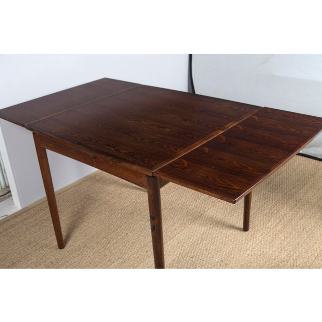 Brown Rosewood Game Table & 4 Chairs For Sale - Image 8 of 13