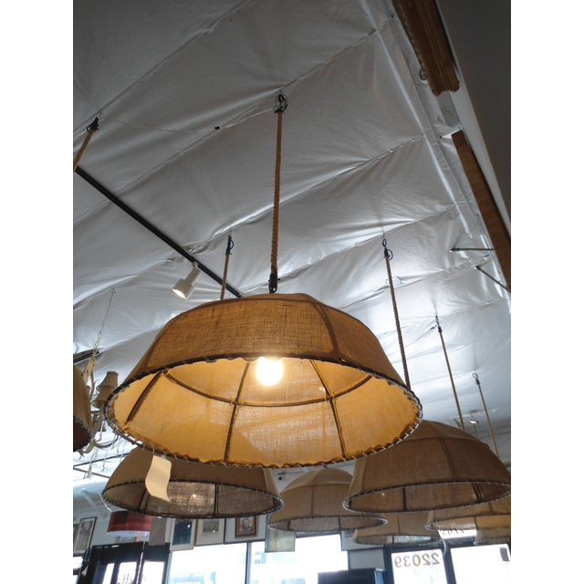 Restoration Hardware Burlap Pendant Light - Image 4 of 6