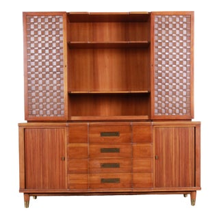 John Widdicomb Mid-Century Modern Cherry Sideboard Credenza With Woven Leather and Brass Hutch For Sale