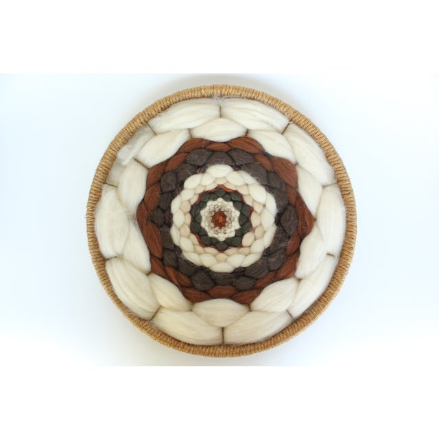 Round Boho Fiber Wall Hanging in Wool and Jute - Image 2 of 4