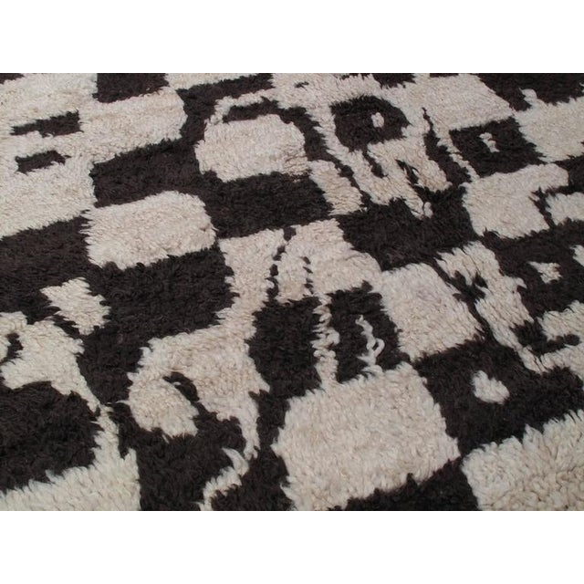 "Tan ""Chessboard Boogie Woogie,"" Moroccan Berber Carpet For Sale - Image 8 of 8"