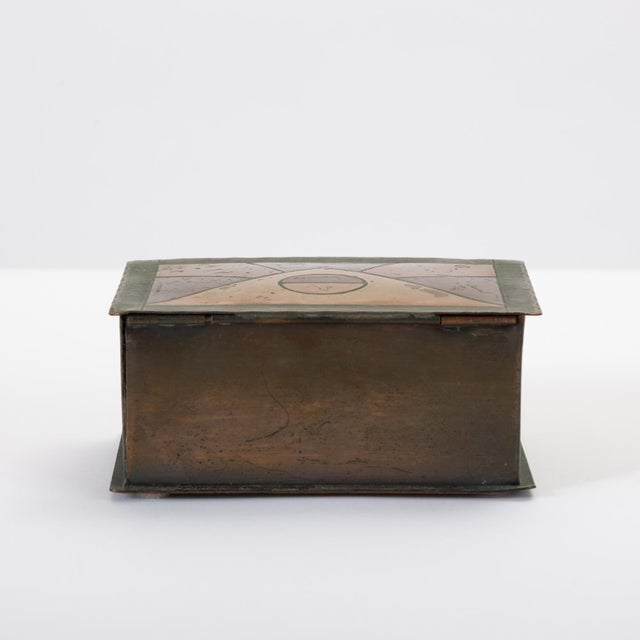 Handmade Copper Box With Painted Geometric Pattern by Craftsman Studios For Sale In Los Angeles - Image 6 of 11