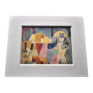 1950s Vintage Paul Klee Cubist Expressionist Jacomet Pouchoir Reproduction Print For Sale