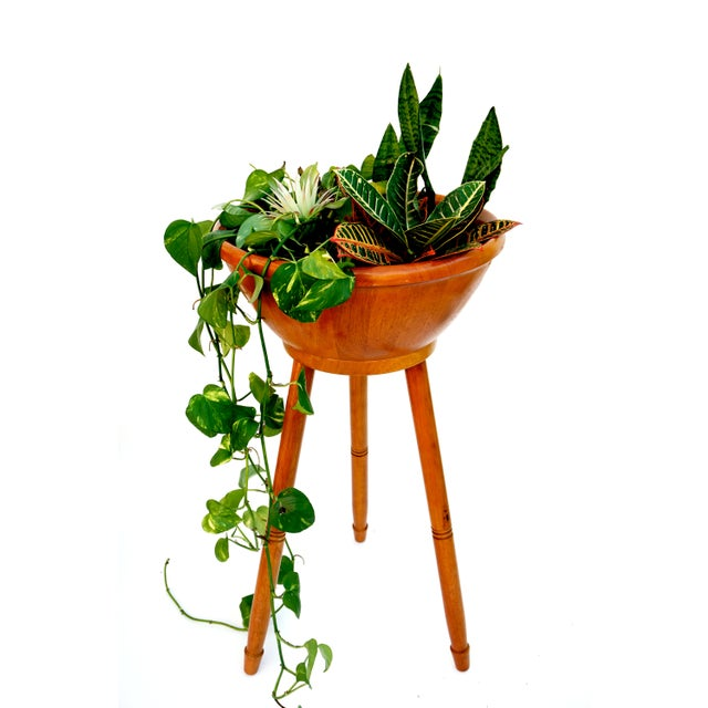 Mid-Century Danish Modern Teak Freestanding Salad Bowl Stand & Utensils - Image 4 of 9