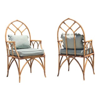 Vintage Gothic Style Bamboo Fretwork Arm Chairs - a Pair For Sale