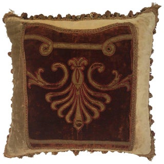19th Century Silk Velvet Antique Textile Fragment Framed Into a Pillow For Sale
