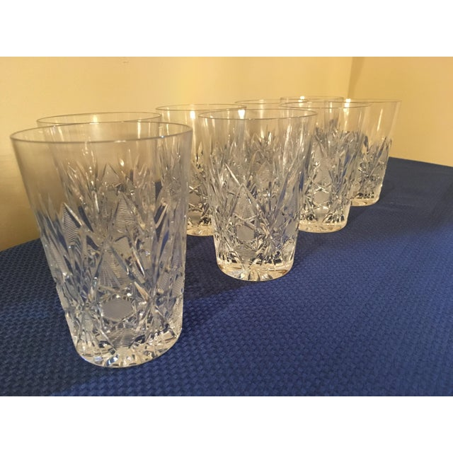 Mid-Century Modern Vintage Crystal Water Glass- Set of 8 For Sale - Image 3 of 11