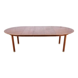 Michael Taylor for Baker Hollywood Regency Chinoiserie Walnut Extension Dining Table With Brass Inlay For Sale