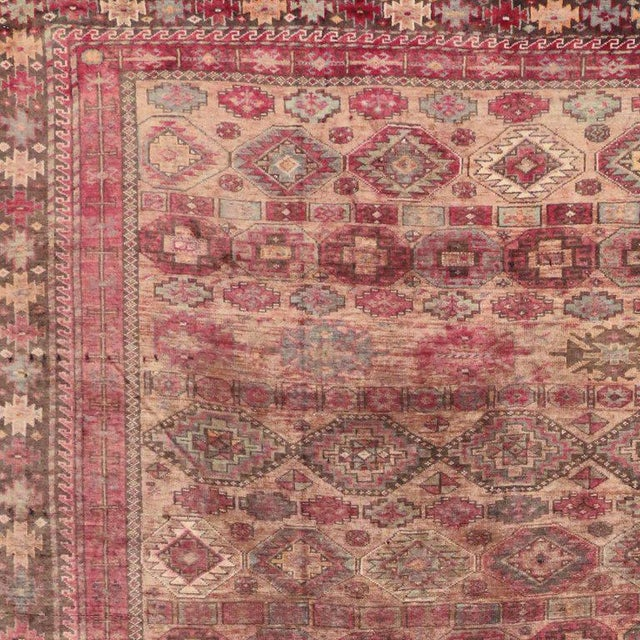 Textile Pink Vintage Persian Baluch Rug with Modern Tribal Style For Sale - Image 7 of 9