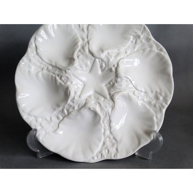Majolica Oyster Plate With Starfish Well For Sale In Austin - Image 6 of 7