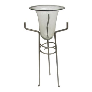 Art Glass Champagne / Ice Bucket on Metal Stand For Sale