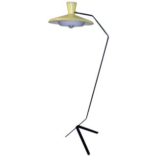 1950's Italian Mid-Century Modern Yellow Metal Floor Lamp For Sale