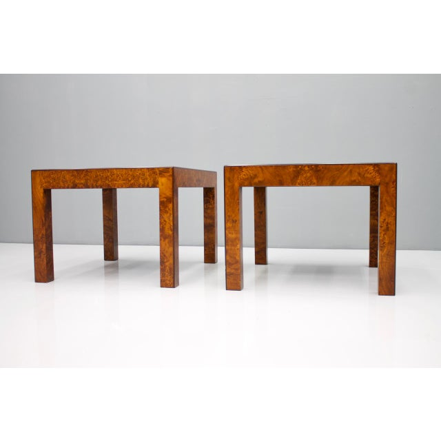 Hollywood Regency Pair of Burl Wood Side or End Tables 1970s For Sale - Image 3 of 10
