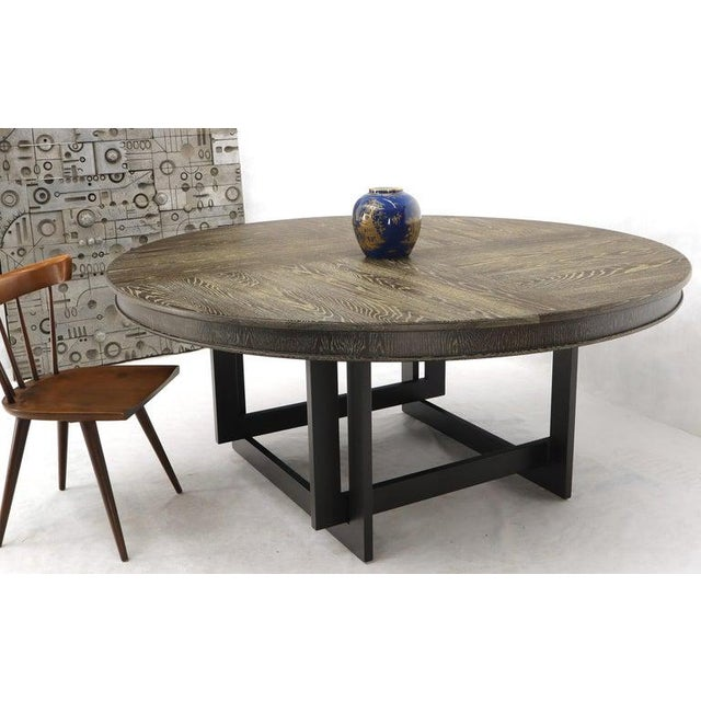 Large Oversize in Diameter Round Cerused Limed Oak Dining Table For Sale - Image 4 of 13