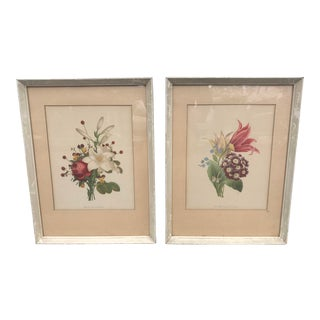Large Flower Bouquet Framed Prints - a Pair For Sale