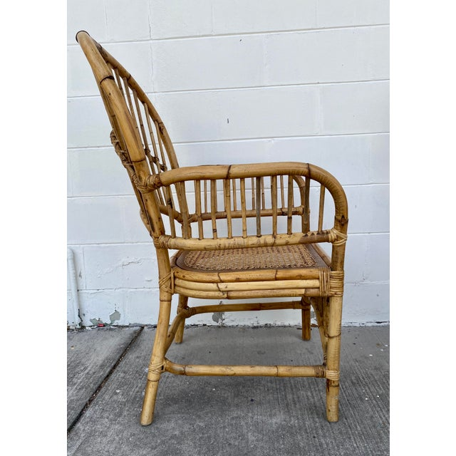 Mid 20th Century Vintage Rattan Fan Back Chairs- Set of 8 For Sale - Image 5 of 13