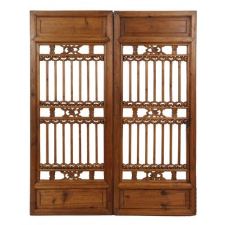 Chinese Antique Carved Window Shutters For Sale