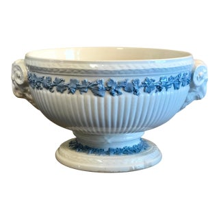 Vintage Wedgwood Queen's Ware Rams Head Embossed Centerpiece Pedestal Bowl For Sale
