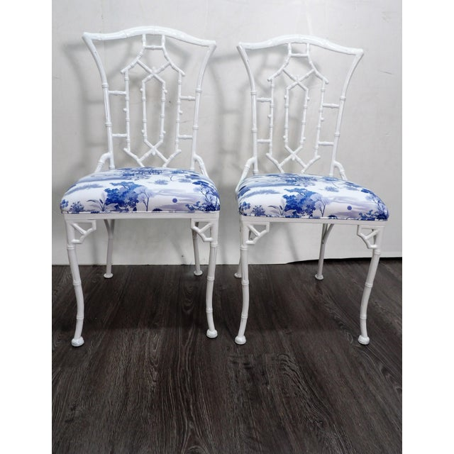 White Vintage Chippendale Side Chairs- a Pair For Sale - Image 8 of 8