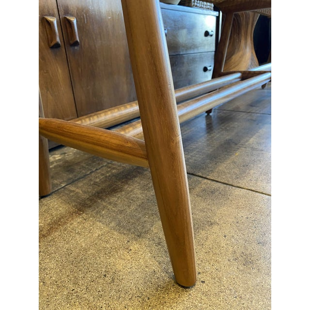 2020s Woven Cord and Teak Bench For Sale - Image 5 of 10