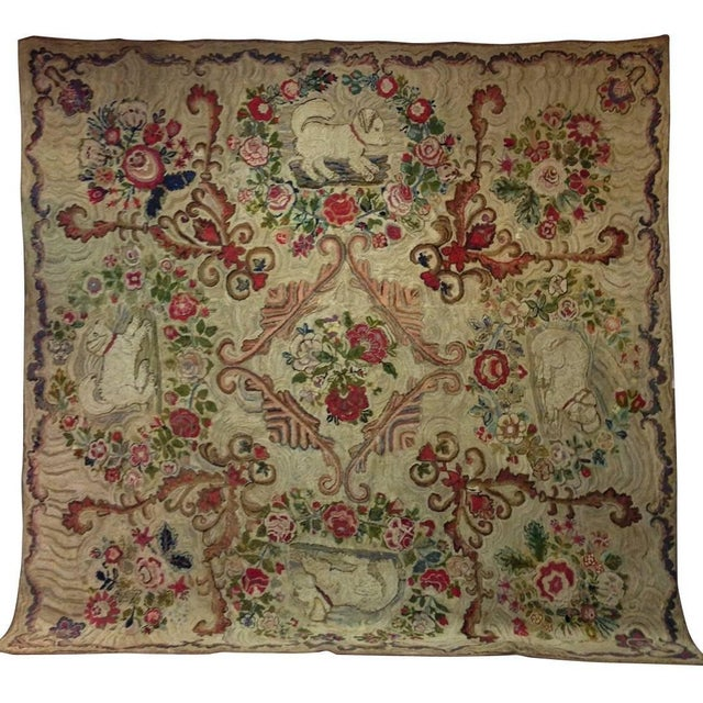 Folk Art room size hooked rug with king Charles Spaniels, circa 1870 found in Maine extremely rare and in excellent...