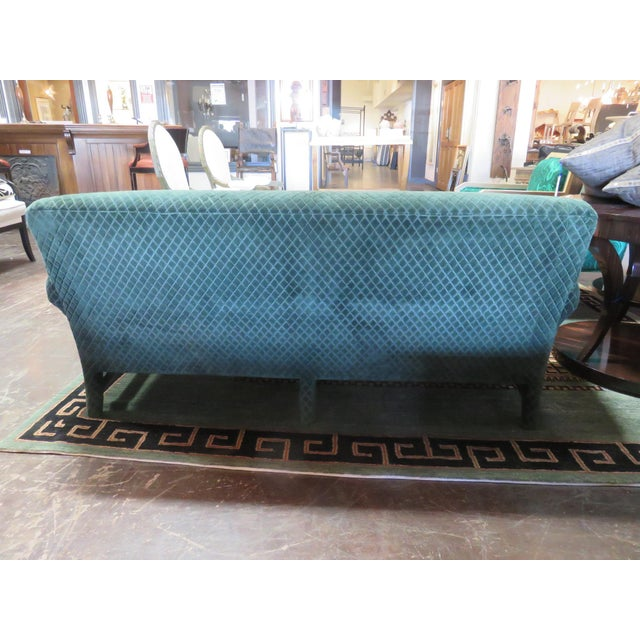 Donghia Donghia Loveseat Sofa Upholstered in Rose Cumming Dark Green Diamond Cut Velvet For Sale - Image 4 of 8