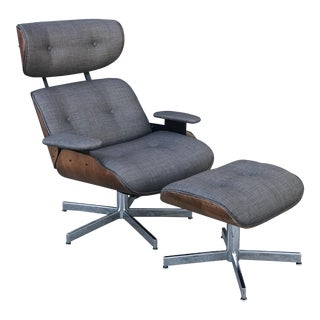 Vintage Plycraft Lounge Chair & Ottoman For Sale