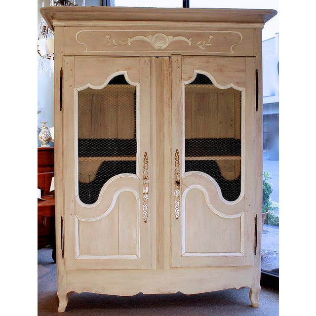 French Provincial Louis XV Style Grey Painted Armoire For Sale - Image 10 of 10