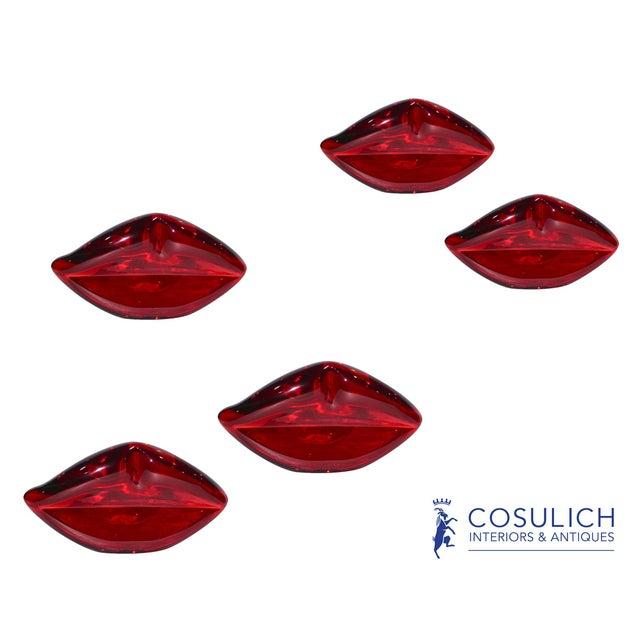 Alberto Donà Contemporary Italian Blown Murano Glass Red Lips Decorative Art Sculpture For Sale - Image 4 of 12