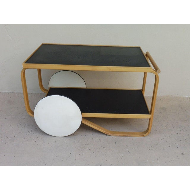 Vintage Mid-century Alvar alto bentwood tea cart sold by scan design nyc sold as found in vintage condition unrestored...