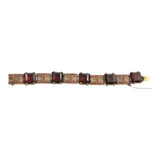 Czech Vintage Cranberry Glass & Scrollwork Bracelet For Sale