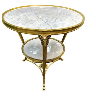 20th Century Louis XV Style 2 Tier White Carrara Marble Top Gueridon Table For Sale