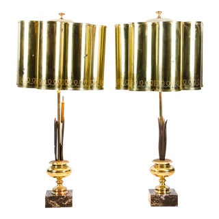 Hollywood Regency Style Brass and Marble Table Lamps - a Pair For Sale