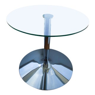 """Modern Calligaris 36"""" Clear Glass/Chrome Dining Table For Sale"""