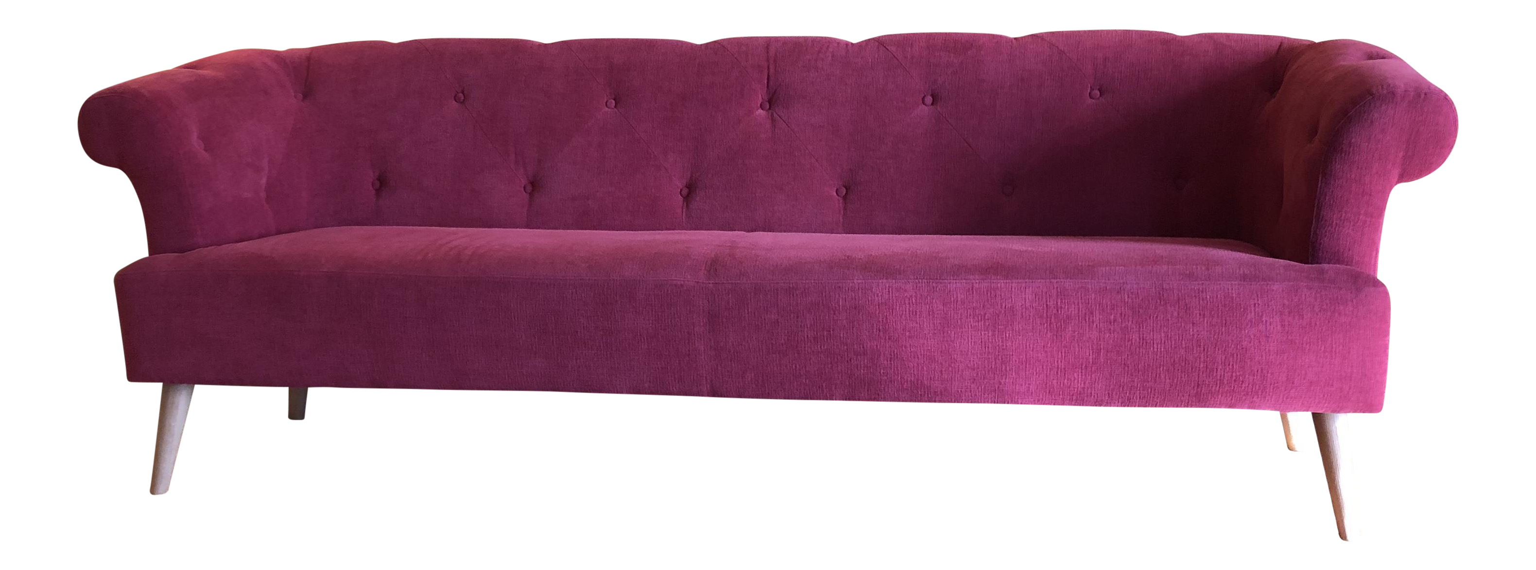 Sarreid Ltd. Burgundy Red Tufted Sofa