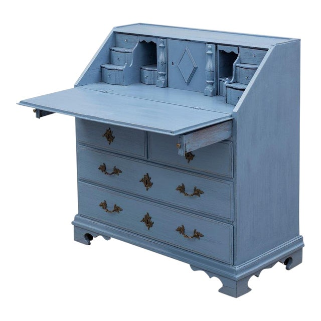 Swedish 19th Century Pale Blue Birch Secretary Desk For Sale