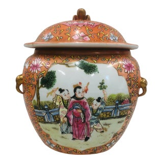 Vintage Chinoiserie Floral Jar With Figural Finial For Sale