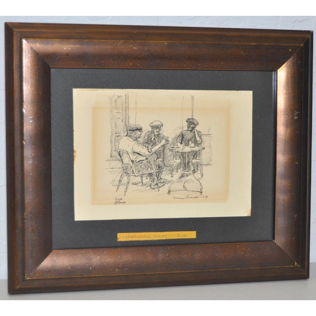 """Titled """"Cafe Blanes"""". Warren Brandt (1918-2002) Original Pen & Ink. Circa 1954. Signed and dated lower right. Pen and ink..."""