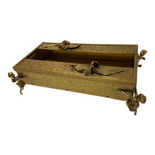 Mid 20th Century French Italian Gold Floral Box For Sale