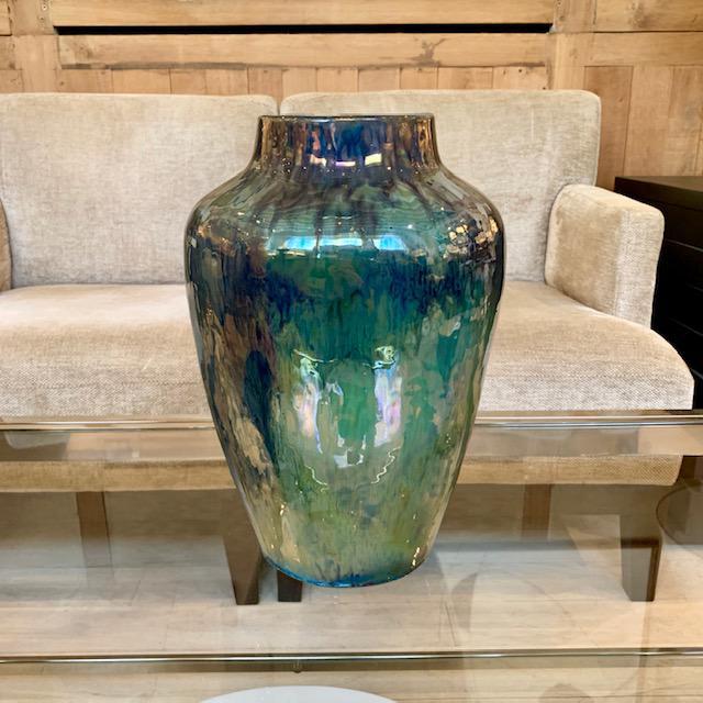 Art Deco Large Art Deco Iridescent Blue/Green Drip Glaze Vase For Sale - Image 3 of 6